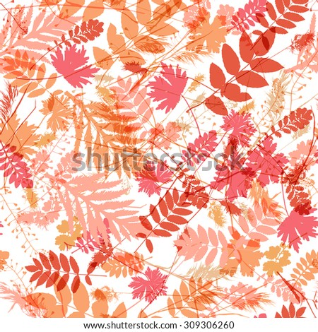 Seamless light color realistic leaf pattern. Vector illustration - stock vector