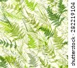 Seamless light green realistic leaf pattern. Vector illustration - stock vector