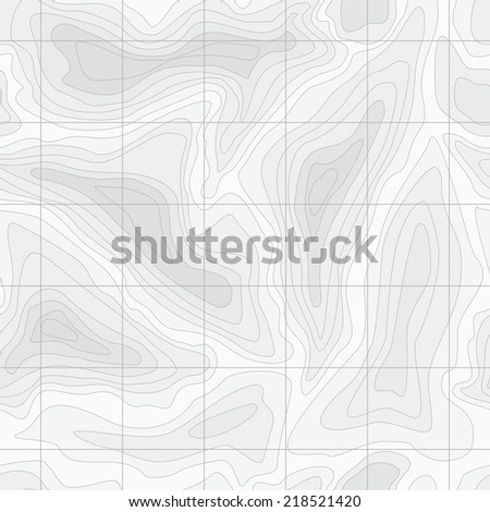 Seamless Light topographic topo contour map background, vector illustration - stock vector