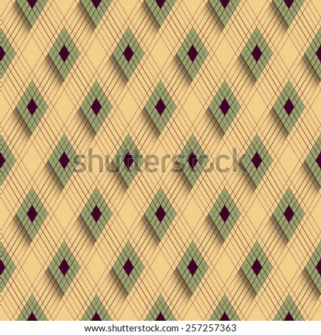 Seamless Line and Rhombus Pattern. Vector Background
