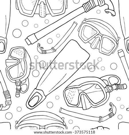 seamless line painting  pattern for diving theme, sea sport summer pattern with tube, mask and flippers