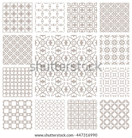 Seamless line patterns set. Contemporary graphic design. Arabic, indian, turkish ornaments, tribal ethnic backgrounds with endless texture. Geometric golden outline seamless patterns collection