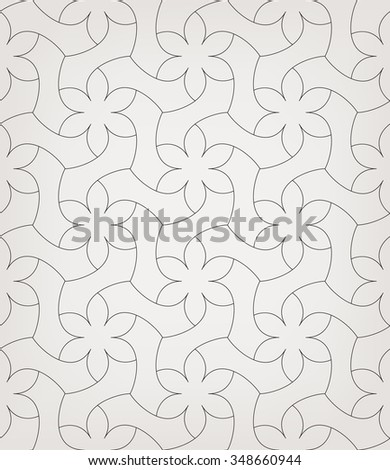 Seamless linear pattern with thin curl lines and scrolls. Endless elegant line with knots and loops - stock vector