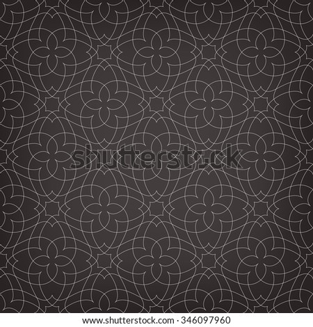 Seamless linear pattern with thin curl lines and scrolls in dark tones. - stock vector