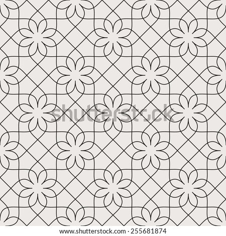 Seamless linear pattern with thin curl lines and scrolls.Monochrome texture - stock vector