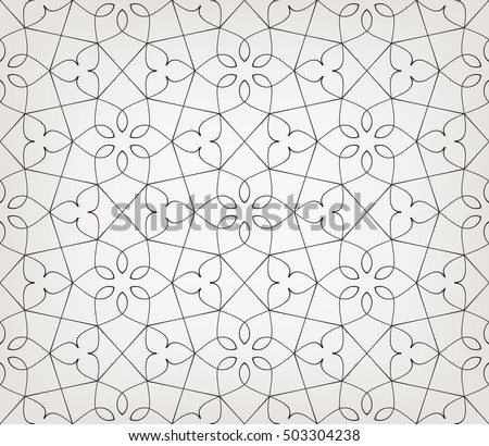 Seamless linear pattern with thin curl lines and scrolls on light background. Abstract Vector Illustration. Stylized floral ornament.