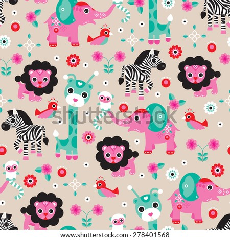 Seamless lion zebra elephant and monkey jungle animals kids illustration background pattern in vector - stock vector