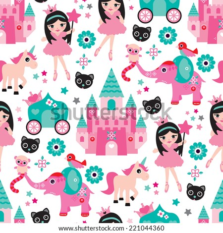 Seamless little girl princess castle unicorn and elephant illustration background pattern in vector - stock vector