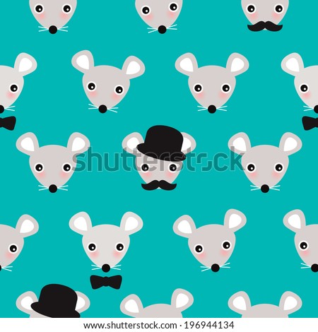 Seamless little hipster mice cute mouse illustration background pattern in vector - stock vector