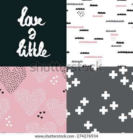 Seamless love a little poscard hand lettering and abstract geometric love hearts and clouds background pattern in vector - stock vector