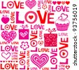Seamless love heart shape pattern in vector - stock vector