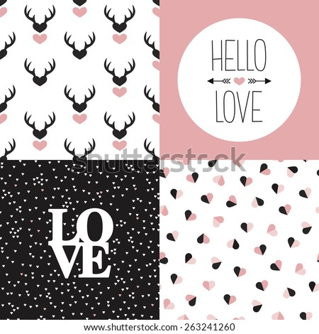 Seamless love pattern set and hello love and heart valentine and wedding invitation cover design in vector - stock vector
