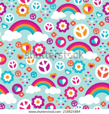 Seamless love peace and rainbow hearts flower power illustration background pattern in vector - stock vector