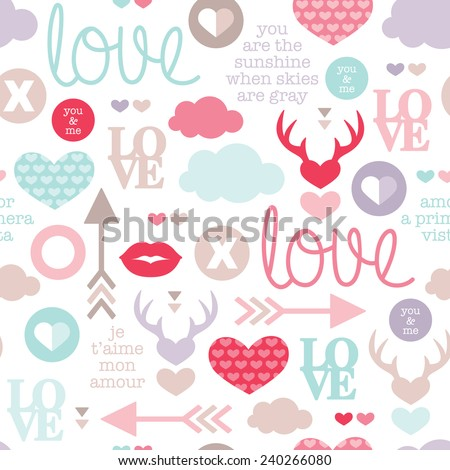 Seamless love romantic valentine hearts and sweet kiss illustration background pattern with lovers text in vector - stock vector