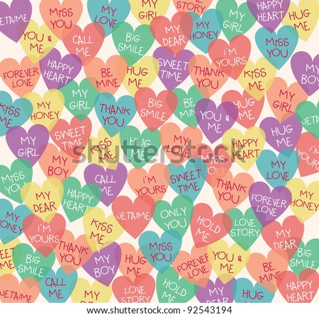Seamless Love Shape Background. Speak Out Your Love Languages. Valentine's Day Design. - stock vector