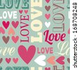 Seamless love vector background, texts and hearts - stock photo