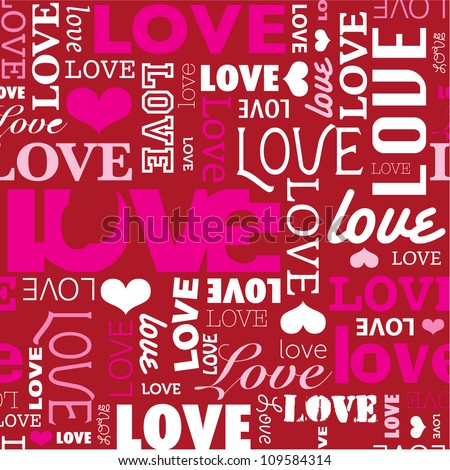 Seamless love wedding typography background pattern in vector - stock vector