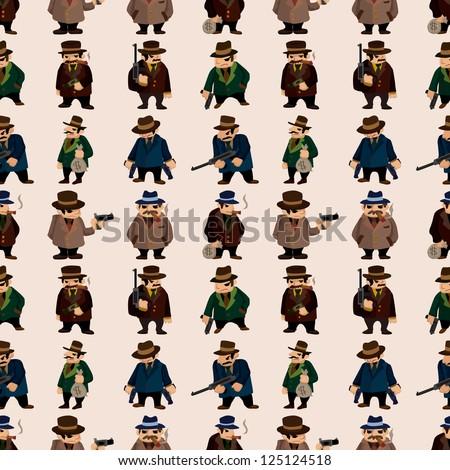 seamless mafia pattern,cartoon vector illustration - stock vector