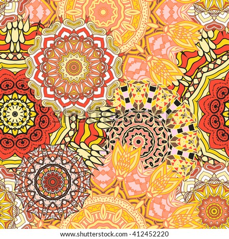 Seamless mandala pattern. Vintage decorative elements. Hand drawn background. Islam, Arabic, Indian, ottoman motifs. Can be used for printing on paper and fabric