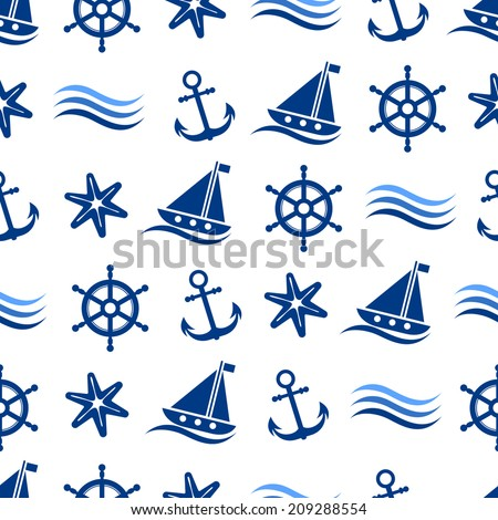 Seamless marine background with anchor, starfish, sailboat, rudder and wave icons - stock vector