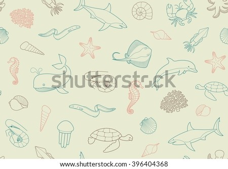 Seamless marine backgroundSeamless pattern with fish and marine life - stock vector