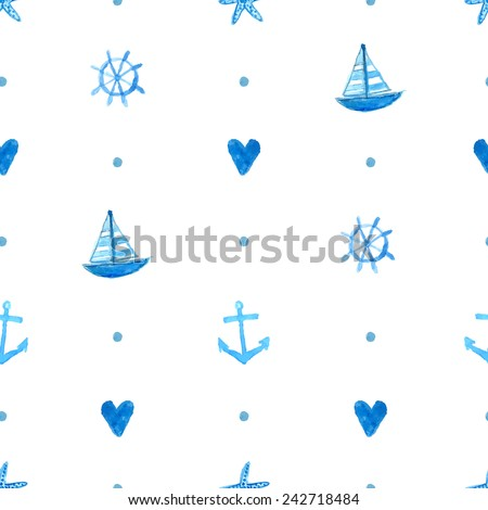 Seamless marine pattern with hand painted watercolor ships, sea stars, fish and shells. Vector repeating texture. Background for greeting cards, invitations, kids party decorations - stock vector