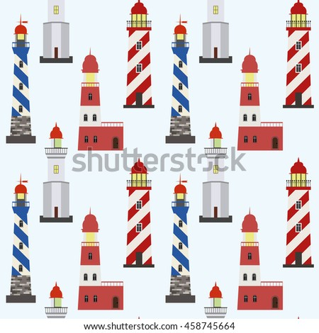 Seamless marine pattern with red, white and blue lighthouses on light background. - stock vector