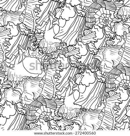 Seamless marine pattern with sea shells. Black and white color vector illustration.