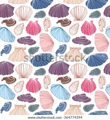 Seamless marine pattern with shells. Beautiful vector background with seashells - stock vector