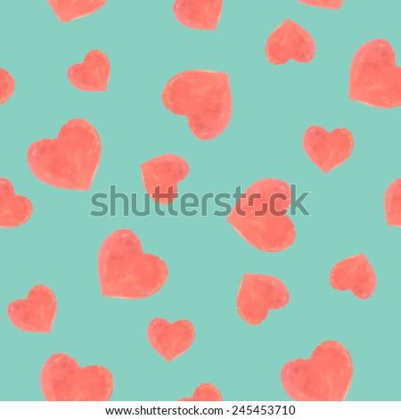 Seamless marker color heart pattern. Valentine's day background - stock vector