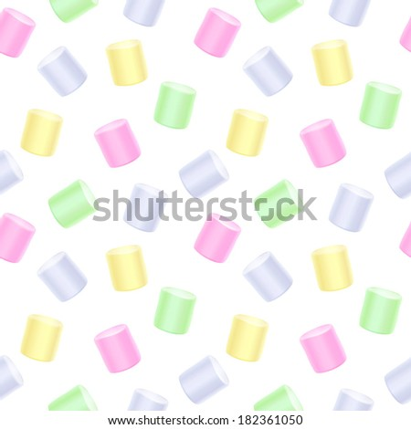 Seamless marshmallow pattern - white back. Sweet food background.