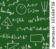 Seamless math elements on school board. - stock vector