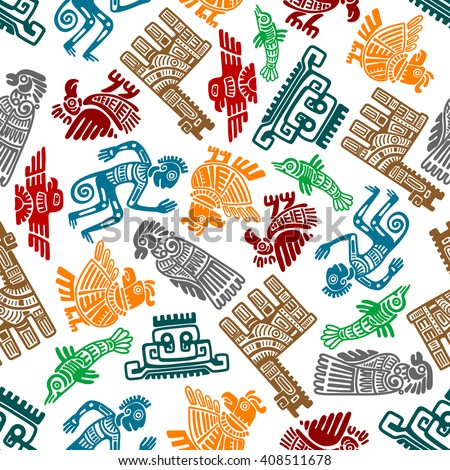 Seamless mayan and aztec totems pattern with symbols of birds, idols, fish, shamans and lamas in tribal style over white. Use as ethnic textile print or ancient culture and religion theme design