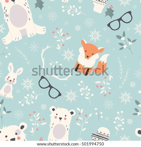 Seamless Merry Christmas patterns with cute polar animals, bears, rabbits, vector illustration