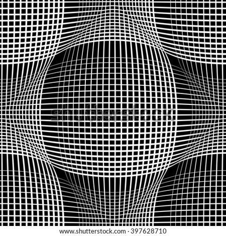 Seamless meshy pattern. Convex and concave optical effect. Vector art. - stock vector