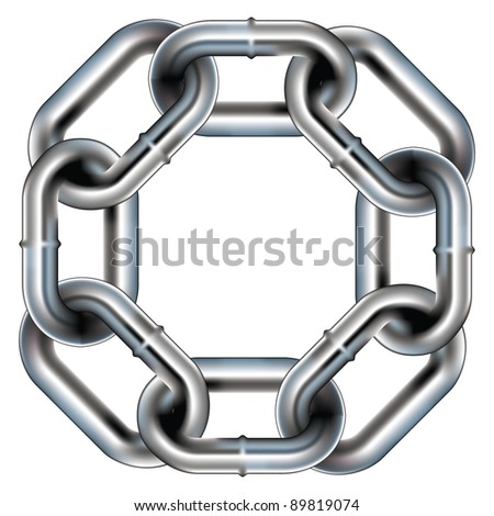 Seamless metal chain link border, background, or pattern with rounded corners - vector - stock vector