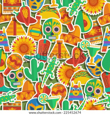 seamless mexican themed pattern decoration with clipping path and transparencies - stock vector