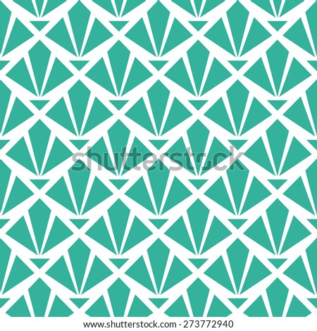 Seamless mint and white art deco diamond rays pattern vector - stock vector