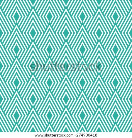Seamless mint and white art deco op art diamond pattern vector - stock vector