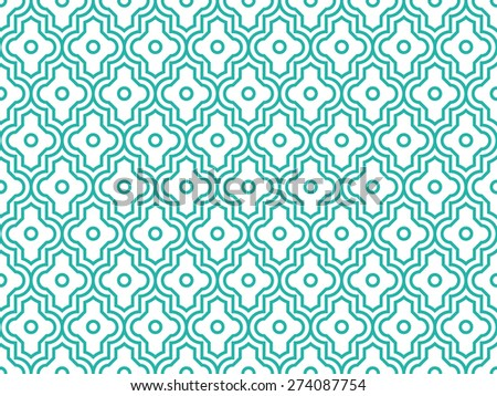 Seamless mint and white enhanced moroccan pattern vector - stock vector