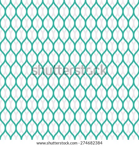 Seamless mint and white overlapping woven pattern vector