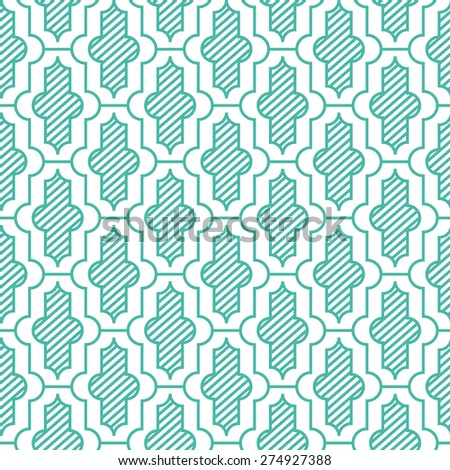 Seamless mint and white vintage moroccan pattern vector - stock vector