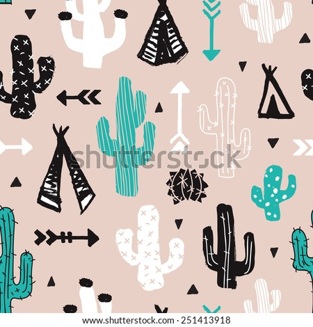 Seamless mint cacti illustration indian summer adventure teepee tent camping trip theme background pattern in vector - stock vector