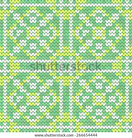 Seamless mint green knitted retro texture with light ornament - stock vector