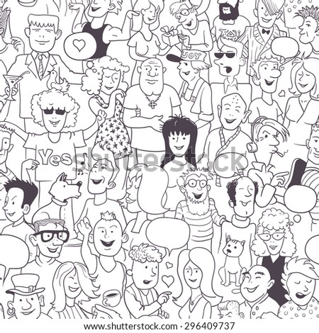 Seamless Modern Art Pattern: Collection of Hand-Drawn Doodles People. Funny Monochrome Background for Wallpaper or Cover Design. Black and White Linear Vector Illustration.