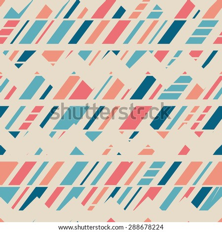 Seamless Modern Art Pattern for Textile Design. Mix of Colorful Diagonal Stripes, Chevrons and Rectangles. Vector Illustration - stock vector
