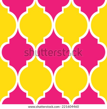 Seamless modern pattern in pink, yellow and white - stock vector
