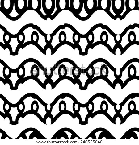 Seamless modern pattern. Monochrome waves and ellipses - stock vector