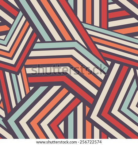 Seamless Modern Stripped Geometric Pattern. Colorful Vector Background. Mix of Tangled and Interlaced Lines - stock vector