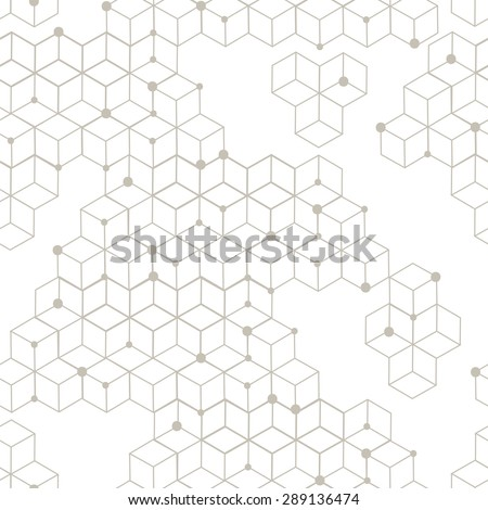 Seamless modern texture. Geometric background with rhombus and nodes from rhombuses with circles variously sized in nodes. - stock vector